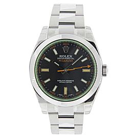 Rolex Milgauss 116400 Stainless Steel Green Crystal & Black Dial 40mm Mens Watch