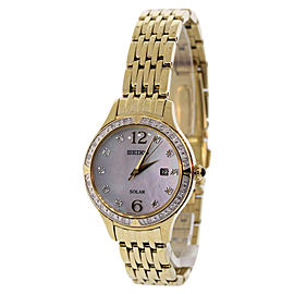 Seiko SUT094 Stainless Steel Gold Plated Mother Of Pearl Dial Diamond Accented 28.5mm Womens Watch