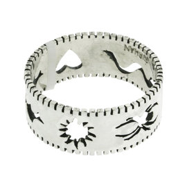 Gurhan 925 Sterling Silver Edge Stencil, Spider, Snake, Heart, Bat & Sun Band Ring Size 12.5