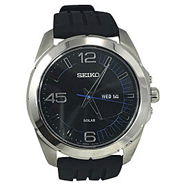 Seiko SNE277 Stainless Steel Black Rubber Strap Black W/ Blue Accents Dial 45mm Mens Watch