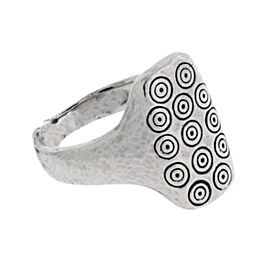 Gurhan 925 Sterling Silver & Palladium Rectangle Shape With Carved Circle Round Ring Size 9.25