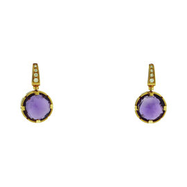 Bulgari Parentesi 18K Rose Gold Diamond & Amethyst Earrings