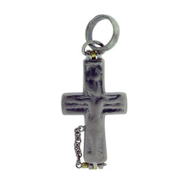 Gurhan 925 Sterling Silver With Yellow Gold Accent Raw Hinged Cross Pendant