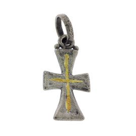 Gurhan 925 Sterling Silver Raw Cross Pendant Yellow Gold Accent