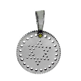 Gurhan 925 Sterling Silver Edge Shiny Large Silver Jewish Star Of David Round Pendant