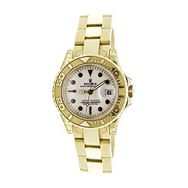 Rolex Yachtmaster 169628 18K Yellow Gold White Sapphire Dial 29mm Womens Watch
