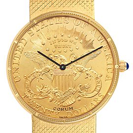 Corum 20 Dollars Double Eagle Yellow Gold Coin Manual Mens Watch 1897
