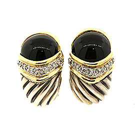David Yurman Sterling Silver 18k Gold Capri Onyx Diamond Omega Back Earrings