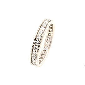 Cartier 18k White Gold 1/2ct Diamond Eternity Wedding Band Ring 3.5mm sz 50 5.25