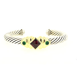 David Yurman 925 Sterling Silver and 14K Yellow Gold with Onyx and Amethyst Cable Cuff Bracelet
