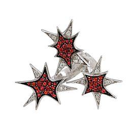 "Stephen Webster ""Murder She Wrote"" 18K White Gold Diamond & Sapphire Star Ring Size 6"