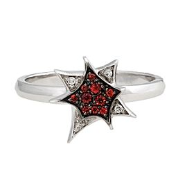 Stephen Webster 18K White Gold Diamond & Mandarin Sapphire Star Ring Size 7