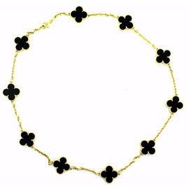 Van Cleef & Arpels Alhambra 18K Yellow Gold & Black Onyx Motif Necklace