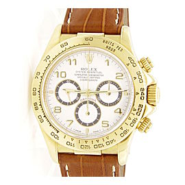 Rolex Daytona 16518 18K Yellow Gold Leather 40mm Mens Watch