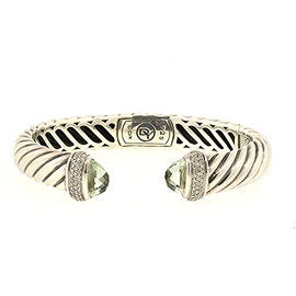 David Yurman 925 Sterling Silver with Prasiolite & 0.39ct Diamond Waverly Cable Cuff Bracelet