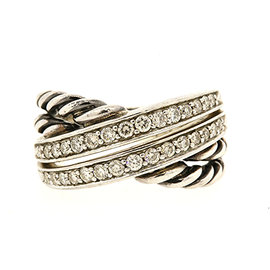 David Yurman 925 Sterling Silver with 0.53ct Diamond 2 Row Crossover Cable Band Ring Size 7