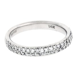 Scott Kay 14K White Gold with 0.43ct Pave Diamond Wedding Band Size 6.5