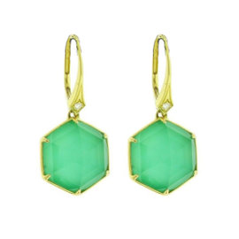 Stephen Webster Deco 18K Yellow Gold with 0.03ct Diamond & Crysoprase Earrings