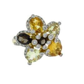 Le Vian 14K Yellow Gold with Smokey Topaz, 0.50ct Diamond & Citrine Ring Size 7