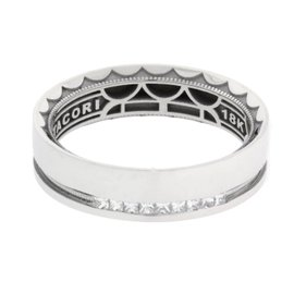 Tacori 18K White Gold with 0.20ct Diamond Sculpted Crescent Wedding Band Ring Size 10.5