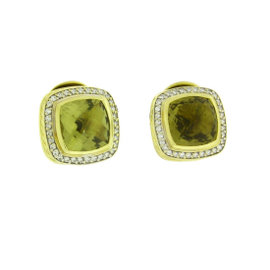 David Yurman Albion 18K Yellow Gold With 0.43ct Diamond With Lemon Citrine Earrings