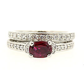 Scott Kay 950 Palladium 0.71ct Ruby & Diamond Engagement Ring Size 5.5