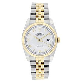 Rolex Datejust 116233 Stainless Steel & 18K Yellow Gold White Roman Dial 36mm Mens Watch