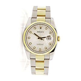 Rolex Datejust 116233 Stainless Steel & 18K Yellow Gold Silver Jubilee Design Diamond 36mm Mens Watch
