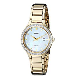 Seiko SUT138 Gold Tone Stainless Steel wDiamond Mother Of Pearl Dial Quartz 29mm Womens Watch