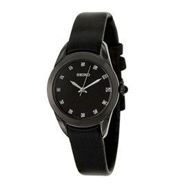 Seiko SRZ389P1 Black Stainless Steel & Black Cloth Black Diamond Dial Quartz 27mm Womens Watch