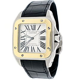 Cartier Santos 100 W20072X7 18K Yellow Gold & Stainless Steel Automatic 38mm Mens Watch