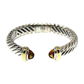 David Yurman Waverly 18K Yellow Gold & 925 Sterling Silver with Smoky Quartz Cable Cuff Bracelet