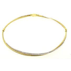 David Yurman 18K Yellow and White Gold Diamond Crossover Necklace Collar Choker
