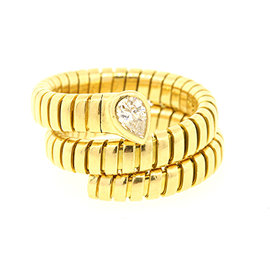 Bulgari Tubogas 18K Yellow Gold with 0.40ct Pear Solitaire Diamond Ring Size 8