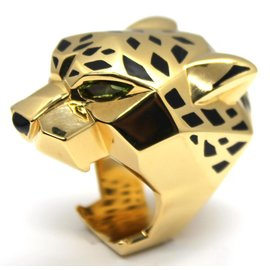 Cartier Panthere De Cartier 18K Yellow Gold Lacquer Peridot Onyx Ring 8.25