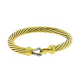 David Yurman Cable Classic 18K Yellow Gold with 0.08ctw. Diamond Buckle Bangle Bracelet