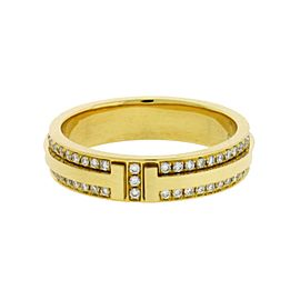 Tiffany & Co. 18K Yellow Gold with 0.44ctw. Diamond T Ring Size 6