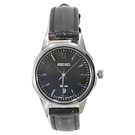 Seiko SUR881 Stainless Steel & Black Leather Strap 28mm Womens Watch