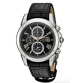 NWT Mens Seiko SSC379 Le Grand Sport Black Leather Chronograph Solar Dial Watch