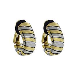 Bulgari Tubogas 18K Yellow Gold & Stainless Steel Clip on Earrings