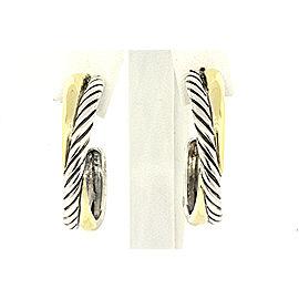 David Yurman Sterling Silver 18k Gold Large Cable Crossover Hoop Earrings
