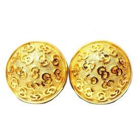 Christian Dior Gold Tone Hardware CD Logo Earrings