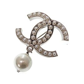 Chanel Silver Tone Hardware with Simulated Glass Pearl Coco Mark Brooch