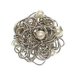 Chanel Coco Mark Silver Tone Hardware with Simulated Glass Pearl Brooch