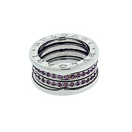 Bulgari B.Zero 1 18K White Gold with Pink Tourmaline 4 Band Ring 5.75
