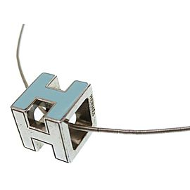 Hermes Silver Tone H Necklace
