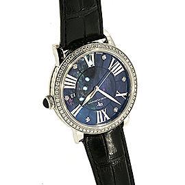 David Yurman Black Mother Pearl Diamond Watch Leather Strap
