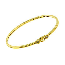 Judith Ripka 14K Yellow Gold with 0.04ctw. Diamond and Quartz Bangle Bracelet