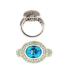 18K White Gold Diamond, Topaz Ring Size 6.75