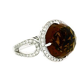 Simon G. 14K White Gold Citrine, Diamond Ring Size 6